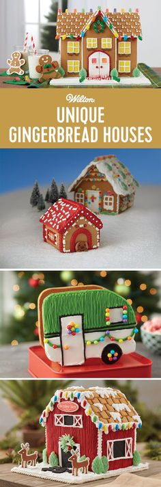 It's gingerbread house decorating season! Click to find unique gingerbread houses like an estate-sized gingerbread manor, a gingerbread dog house, and a gingerbread camper! #gingerbreadhouse #christmas #wiltoncakes