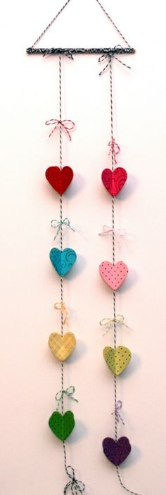 Hearts and Twine | The Twinery - I love the different colors and twine. Would look lovely on a door.