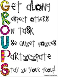 Group Expectations. I really liked this poster because it's fun and pleasant to look at. I think it's important to have classroom rules and expectations up around the classroom so the students have reminders about acceptable behavior. I would probably hang this by a group work area in a classroom for a younger grade. -Joanne Jablonski