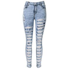Light Blue High Waist Extreme Distressing Ripped Skinny Jeans ($49) ❤ liked on Polyvore featuring jeans, pants, bottoms, pants and shorts, pantalon, high rise skinny jeans, distressed jeans, high-waisted jeans, high waisted jeans and destroyed skinny jeans