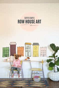 DIY Row House Wall Art (so fun for kids!!)