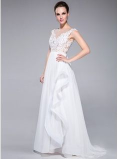 Evening Dresses - $173.99 - A-Line/Princess Scoop Neck Sweep Train Chiffon Tulle Evening Dress With Lace Beading Sequins Cascading Ruffles  http://www.dressfirst.com/A-Line-Princess-Scoop-Neck-Sweep-Train-Chiffon-Tulle-Evening-Dress-With-Lace-Beading-Sequins-Cascading-Ruffles-017041156-g41156