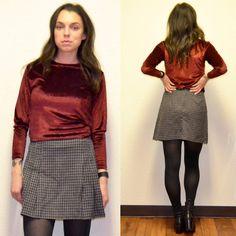 90s Vintage Plaid Skirt by MerlotMami on Etsy #hipster #softgrunge #90sgrunge #grunge #vintage #fashion #skirt #plaid #miniskirt #gray #red #pleated