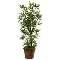 Nearly Natural Indoor Bamboo Artificial Tree in Coiled Rope Planter 5808 - The Home Depot, Bamboo Leaves, Bamboo Tree, Green Leaves, Silk Plants, Faux Plants, Indoor Bamboo, Planters For Sale, Artificial Cactus, Pots