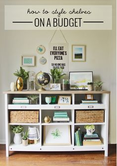 Tips for styling shelves on a budget! You can use ordinary books + thrifted knick knacks!