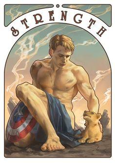 Fan Art: The Avengers are Surprisingly Fitting as Cool Tarot Cards | Strength: Steve - Herakles