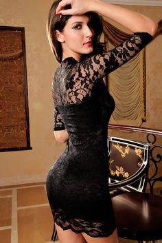 Bodycon Robes Ladies V Cou Mini Slim Robe En Dentelle Clubwear Manches Demi  Noire a228a2132237