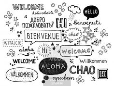 Word welcome written in different languages Stock Illustration