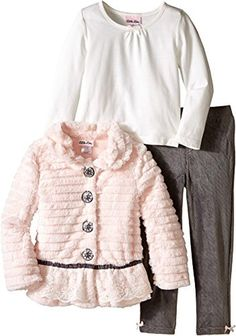 Little Lass Little Girls' 3 Piece Fur Jacket Set Grooved Lace Trim, Light Coral, 3T - Brought to you by Avarsha.com