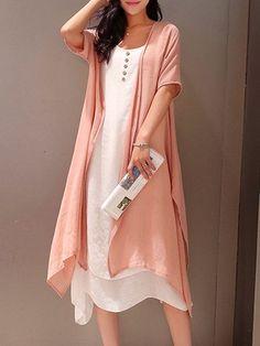 Shop Casual Dresses - Pink Crew Neck Two Piece Buttoned Casual Casual Dress online. Discover unique designers fashion at PopJuLia.com. #plussizecasualdresses