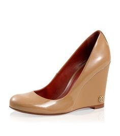 Patent Leather Annelise High Wedge | Womens Wedges | ToryBurch.com--I think camel-colored wedges are going to be my thing this year