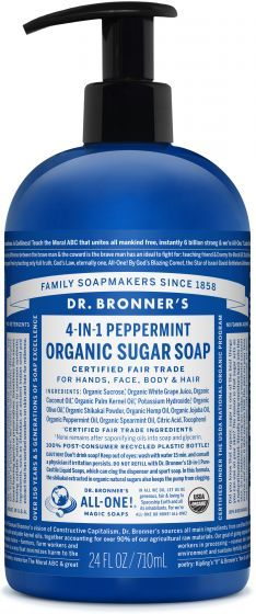 Organic Sugar Soaps | Dr. Bronner's  4 in 1 Peppermint available in 12 oz, 24 oz, or 1/2 gallon.
