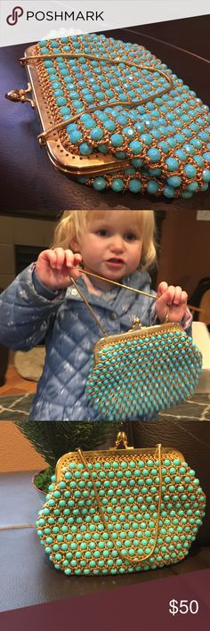 """Vintage jeweled bag. Made in British colonies! Awesome bag. Tag says """"Marcus Brothers made in British crown colony of Hong Kong"""" teal and gold design.  gold colored strap. Think it was made in 1950's. marcus brothers Bags Clutches & Wristlets"""