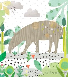 Illustration - Sally Payne Large Animals, Jungle Animals, Kids Prints, Cute Images, Surface Pattern, Cat Art, Collage Art, Illustrations, Print Patterns