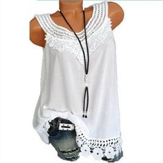 fd3623696d4 Summer Women Plus Size Vintage 2018 Blouse Sleeveless Hollow Out Lace Tops  Shirt Patchwork Tunic Ladies