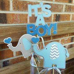 Baby Boy Elephant Centerpiece por 4HeartsPaperCraftCo en Etsy