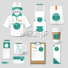 Set of restaurant corporate identity burgers uniform flyer shirt cup menu package apron coffee cup v Stock Vector