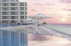 Feb. 2013:  Hard Rock Hotel Cancun. The edge of the Infinity pool.