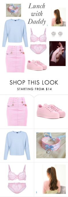"""""""Lunch with Daddy"""" by brattylittlelove ❤ liked on Polyvore featuring Moschino, Kenzo, River Island, look, ddlg and littlespace"""
