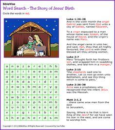 Word Search - Jesus' Birth (Christmas Activity) - Kids Korner - BibleWise