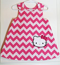 Hello Kitty - Pink - Chevron - Baby Dress - Girl Dress - Baby Names - Baby Dresses - Tutu Outfit - Baby Stuff - Baby Boutique - 0-3m to 4T