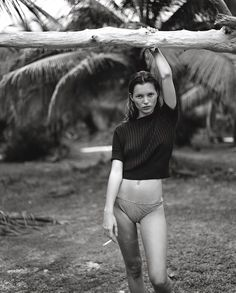 A photograph of Kate Moss taken by Juergen Teller for Jalouse.