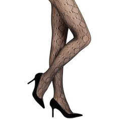 Nine West Python Net Tights (19 AUD) ❤ liked on Polyvore featuring intimates, hosiery, tights, nine west, net tights, snake print tights and net stockings