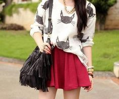 Cat shirt and staker skirt