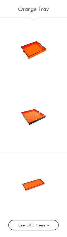 """Orange Tray"" by instyledecor ❤ liked on Polyvore featuring home, kitchen & dining, serveware, modern tray, orange breakfast tray, orange ottoman tray and orange tray"