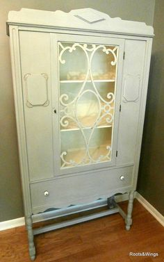Antique 1930 S China Hutch Painted Antique White And