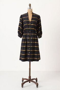 silk dress in navy with gold polkas from Anthro, spotted for me by my pal @Lindsay Gardner who knows I'm looking for long-sleeved silky work dresses