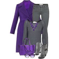 """Purple and Grey"" by ginga1203 on Polyvore"