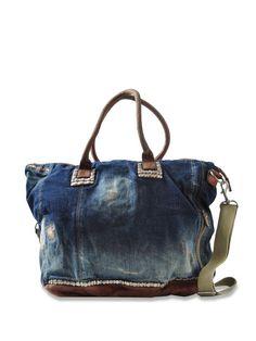 denim purse w/leather trim