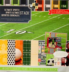 DCWV 12 x 12 Ultimate Sports Stack Specialty Cardstock Scrapbook Paper Pad is available at Scrapbookfare.