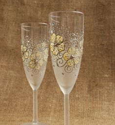 Hand Painted Champagne Wine Glasses Flutes Vanilla and White Floral Design…