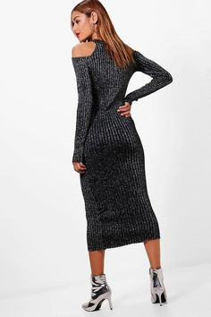 Jasmine Metallic Knitted Cold Shoulder Dress