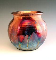 Copper Contrast Raku Pot by Raku4u on Etsy
