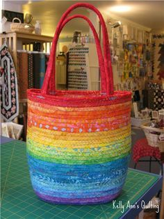 Rainbow clothesline tote purse bag