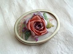 Silk Ribbon Embroidery Brooch Pink Rose