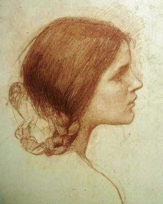 John William Waterhouse ~ Head of a Girl, 1905 (chalk)