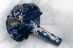 "Royal Blue Wedding Brooch Bouquet. BOOK NOW ""Royal Blue"" Navy Blue Wedding Bouquet. Jewelry Bridal Broach Bouquet by Ruby Blooms Wedding"