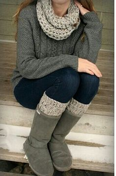 Love the matching boot socks and scarf! Reveries of Fall - like the idea of  matching grey boots with top d0cd7e7db3