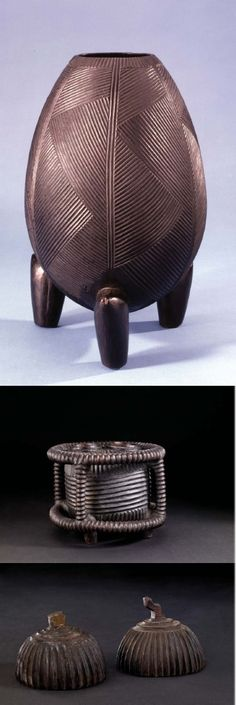 """Africa     """"Carved wooden vessel for holding sour milk."""" Made by unnamed Zulu or Tsonga carver. Donated to the British Museum by Henry Christy ca 1860."""