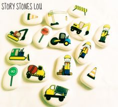 Construction story stone set by stOrystOneslou on Etsy, Stone Crafts, Rock Crafts, Arts And Crafts, Crafts For Kids, Pirate Rock, Moon Symbols, Story Stones, Painted Shells, Homemade Toys
