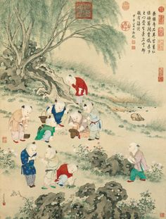 Jing Tingbiao, Children at Grass Contest, detail, Qing dynasty, Qianlong period, hanging scroll, ink and colour on paper, Palace Museum, Beijing. After: The Complete Collection of Treasures of the Palace Museum: Genre Paintings of the Ming and Qing Dynasties, Hong Kong, 2008, pl. 50