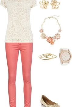 Peach pink skinny jeans