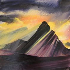 Last light Assynt 50x50cm