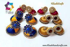 Silk Thread designer earrings Beaded Necklace Patterns, Crochet Earrings, Silk Thread Jhumkas, Thread Jewellery, Jewelry, 11 August, Mini Cupcakes, Designer Earrings, Fashion