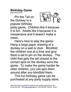 Popular Birthdays, Reading Comprehension Passages, Paper Drawing, The Donkey, Birthday Party Games, Reading Skills, Read Aloud, English, Activities