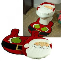 Beatrice Santa Claus Christmas Holiday Toilet Seat Cover And Rug 2 Piece Set Decorations